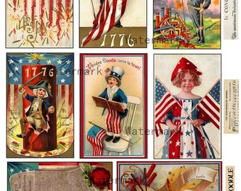 Patriotic 4th of July Graphics Tags Backgrounds Digital Collage Sheet Mixed Media ACE0 ATC Instant Download