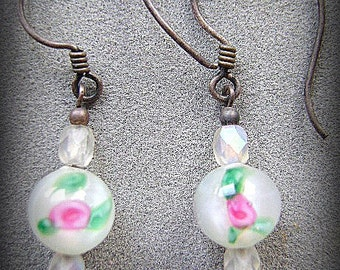 EARRINGS, STERLING, Silver, Flower, Glass, Czech Crystal, French, Hook,  Pierced,