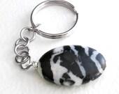 Zebra Jasper Key Chain, Black & White Stone Keychain for Men