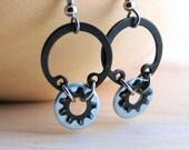 Dangle Earring Hoops Black Metal Hardware Jewelry Industrial Eco-Friendly