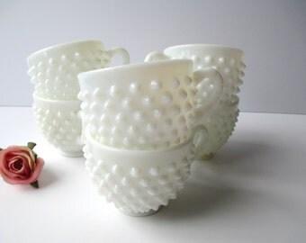 Vintage Fenton Milk Glass Hobnail Punch Cups Set of Six