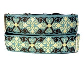 "1.5"" wide CAMELOT Teal and Black 17-24"" Martingale Dog Collar"