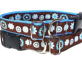 Blue dog collar, brown dog collar, CARISSA collar, tag collar, brown and blue, pop art collar, floral collar, buckle collar, house collar