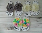 Clearance Sale Barefoot baby sandals, summer shoes, photo prop, pink, aqua, lime, peace sign, photo prop
