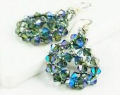 Aquamarine Swarovski Crystal Earring/Mandala Crystal Earring/Crystal Earring/Blue Crystal Earring/Swarovski Crystal Jewelry/Silver Earring