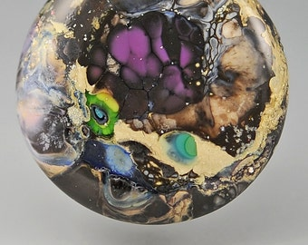 Hidden Gem   ... glass CABOCHON artsy organic lampwork jewelry designer cabs SRA by GrowingEdgeGlass/ Mikelene Reusse