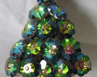 Christmas Tree Green Brooch Gold Aurora Glass Vintage Pin
