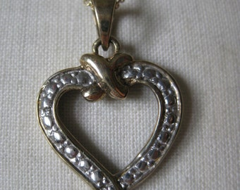 Heart Sterling Diamond Necklace Silver Gold Vintage 925 Pendant Italy RSE