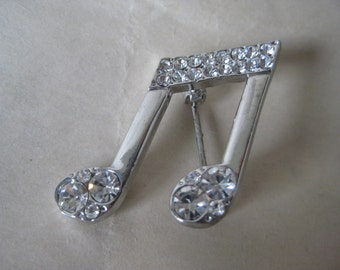 Music Note Brooch Rhinestone Silver Clear Vintage Pin
