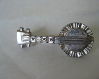 Shabby Banjo Brooch Gold Vintage Pin