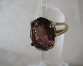 Amethyst Purple Stone Ring Gold Vintage 7 Violet