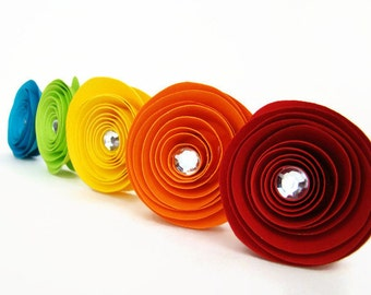 One Dozen Spiral Paper Roses with Stems - Rainbow Roses with Rhinestone Accents