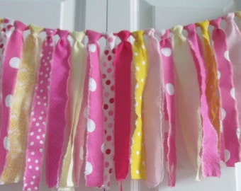 Pink Lemonade Rag Tie Banner~photo prop~rag banner ~garland