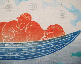 Mother and Baby Floating, original block print on linen canvas