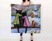 Silk Scarf black Cat 585 Squirrel Winter Snow Women Accessory Scarves art painting by Lucie Dumas