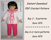 PDF crochet pattern 26 - 2-piece leisure suit with hoodie and shoes - outfit fits American Girl or other 18 inch doll