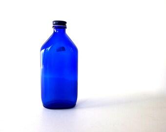 Vintage Cobalt Blue Phillips Bottle with Cap