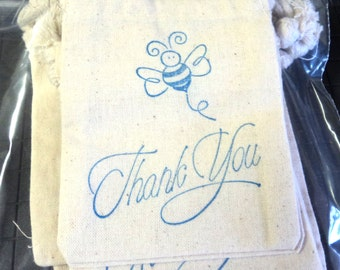 6 Muslin Bags, Blue Bee Thank You, gift Bags, Packaging, 4x4 Inches, Hand Stamped, Party Favor Bags