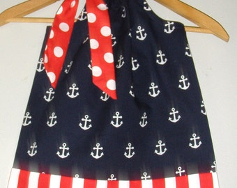 Anchors dress .    Red white Blue Monogrammed Anchors Pillowcase sizes 3, 6 9 12,18 months 2t,3t,4t,5t,6,7,8,10,12
