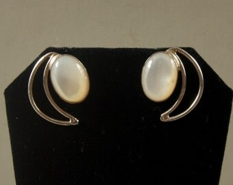 Beautiful Bezel Set Pierced Earrings With Crescent Moon Accent JT