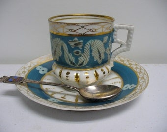 Vintage Turquoise Gold and White Porcelain Demitasse Cup and Saucer