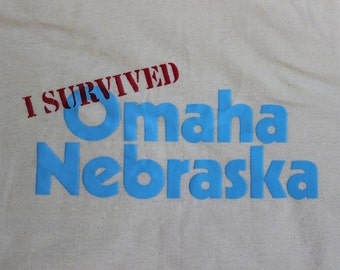 Vintage yellow 80s I survived Omaha Nebraska Tshirt