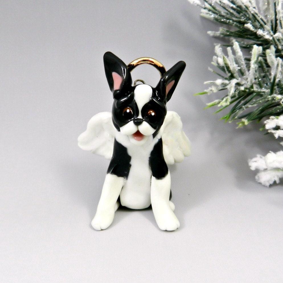 Shepherd Gold On Blue Silhouette Ornament: Boston Terrier Angel Christmas Ornament Figurine Memorial