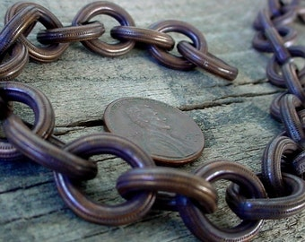 Per Foot Very Vintage Heavy Duty Thick Solid Brass Fancy Cable Chain Large 16/14 mm Soldered Link 8g Wire Antique Bronze Natural Patina cf0