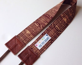 SLR Camera Strap - Cross body with brown Joel Dewberry fabric - wood grain crossbody - Hipster Style
