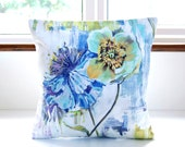 large floral art decorative pillow cover 16 inch, blue green white lilac flowers cushion cover