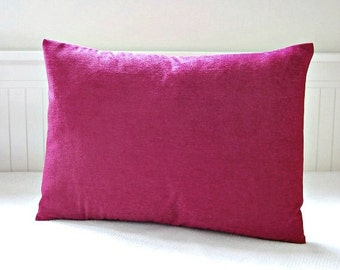 accent decorative pillow cover cerise fuchsia pink, lumbar cushion cover 12  x 16 / 18 / 20 inch