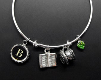 Book Tea Bracelet Adjustable Stackable Bangle Reader Drinker Bibliophile Literary Jewelry