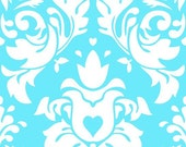Damask in aqua 1 yard cotton lycra knit