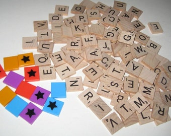 100  Wooden Scrabble Letter Tiles + 12 Plastic Power Tiles for Altered Art, Collage, Scrapbooking, etc.