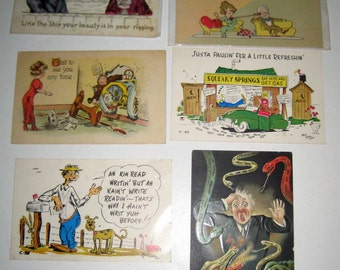 6  Antique Postcards - Humorous  - for Collecting, Altered Art, Scrapbooking, Crafts