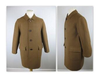 Vintage 60s Mens Cashmere Top Coat M Brown Wool Overcoat by Duca di Bard