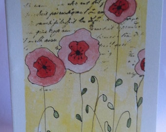 Poppies in the Wind Watercolor Card