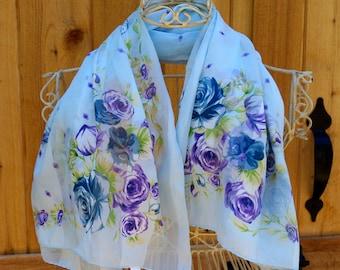 Blue Floral Scarf