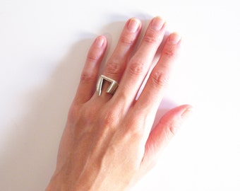 MODERNIST STERLING SILVER geometric cut out ring