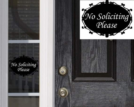 No Soliciting Oval Elegant  Door Decal - Vinyl Sicker - Vinyl Decal - Vinyl Lettering