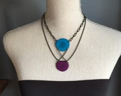 RESERVED for LEAH Turquoise and purple criss cross necklace