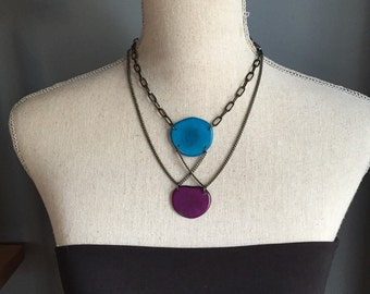 Turquoise and purple criss cross necklace