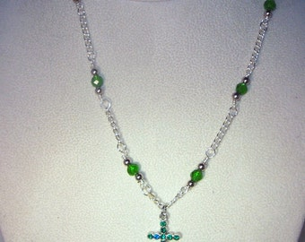 Swarovski Crystal Jewelry -  Crystal Cross Necklace - Made to Order - Shown in Emerald - All Birthstones Available