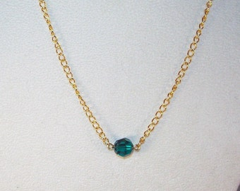 Emerald Swarovski Crystal Solitaire Necklace - May Birthstone - All Colors Available