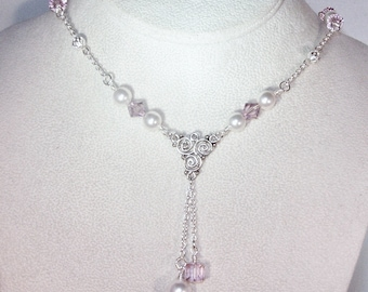 Swarovski Crystal & Pearl Jewelry -  Light Amethyst and Pearl Necklace - Silver Filled - Bridal, Wedding, Bridesmaids, Maid of Honor