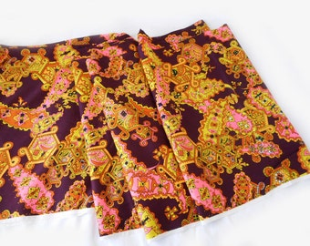 1960s Psychadelic Paisley Barkcloth Fabric Mod Brown Orange Pink Green Bright Neon Electric Colors 6 Yards Vintage Fabric