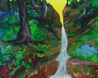 waterfall painting, Forest Waterfall, original acrylic painting on canvas, river painting, landscape painting, original art