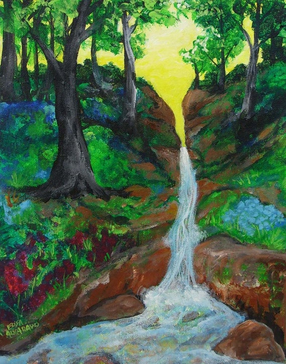 Waterfall painting forest waterfall original acrylic for Painting a forest in acrylics