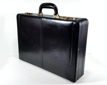 Vintage Executive Black Leather Briefcase , Expandable, Brass Hardware, Combo Locks