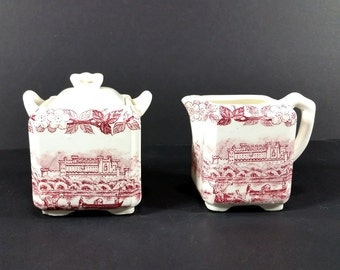 Vintage Japanese  Lidded Square Sugar Bowl and Creamer, White with Burgundy Landscapes and Cherry Blossoms